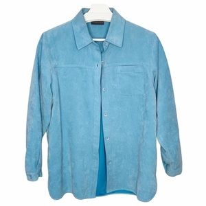 RELATIVITY Tiffany Blue Faux Suede Shacket Top S